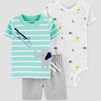 Baby Boys' Elephant Striped Top & Bottom Set - Just One You® made by carter's Green 12M