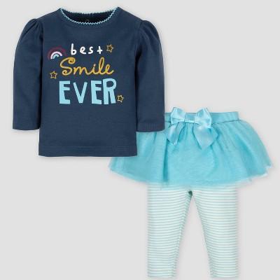 Gerber Baby Girls' 2pc Smile Long Sleeve Shirt & Tutu Leggings Set - Blue 6-9M