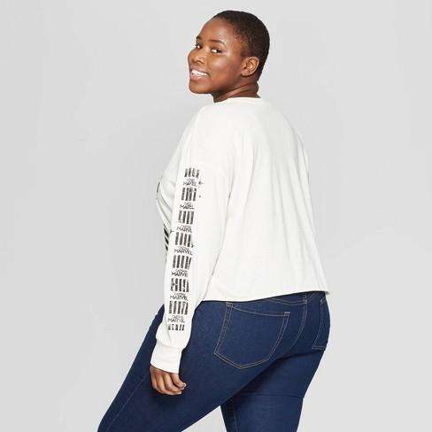 cdd72b2492ebb Women's Plus Size Captain Marvel Long Sleeve Graphic T-Shirt (Juniors') -  White : Target