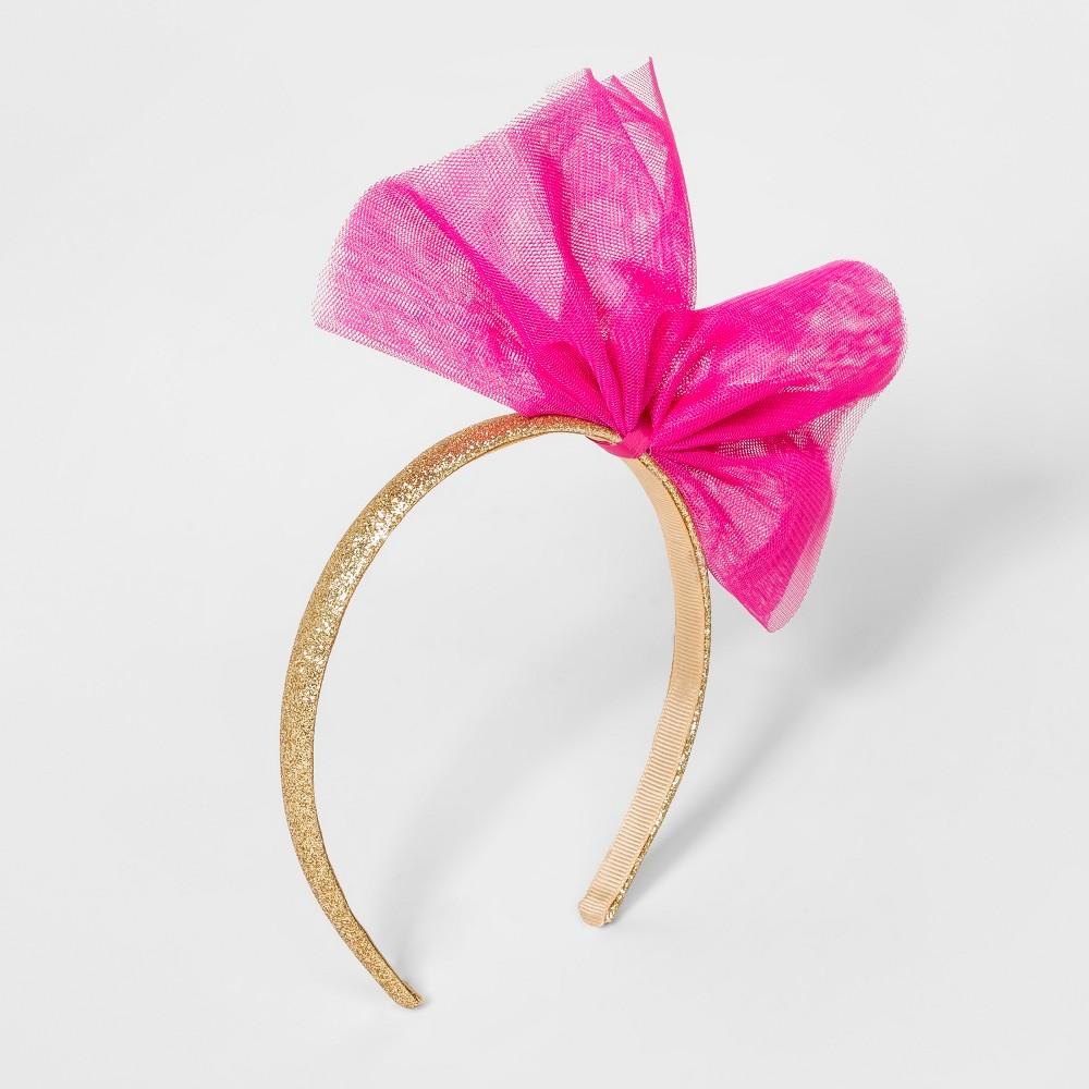 Girls' Tulle Bow Glitter Headband - Cat & Jack Fuchsia (Pink)