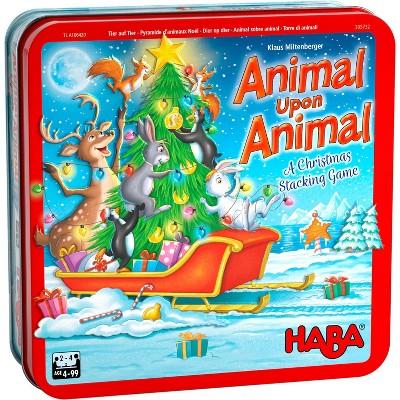 HABA Animal Upon Animal Christmas Version Wood Stacking Game (Made in Germany)
