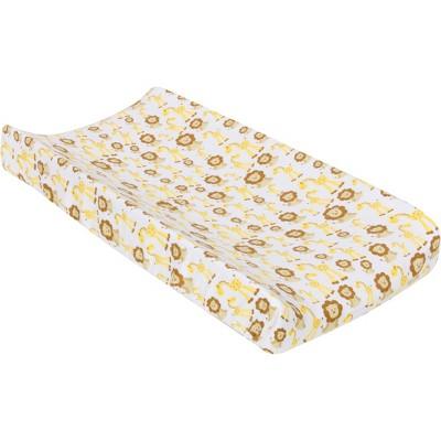 MiracleWare Muslin Changing Pad Cover Giraffe & Lion Dark Yellow