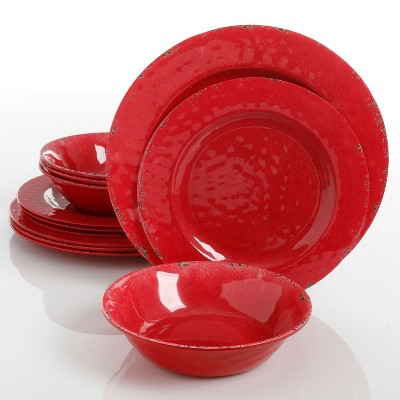 Gibson Studio California Mauna Elegant 12-Piece Durable Chip Resistant Melamine Dinnerware Set with 4 Dinner Plates, 4 Dessert Plates, & 4 Bowls, Red