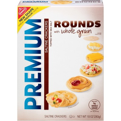 Crackers: Premium Rounds Whole Grain Saltine Crackers