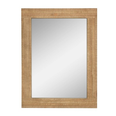 "24"" x 18"" Rectangle Worn Wood Wall Mirror Brown - Stonebriar Collection"