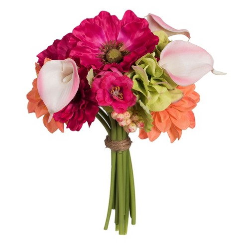 "Vickerman Artificial 12"" Poppy/Dahlia/with Pink Calla Lily Bouquet. - image 1 of 2"