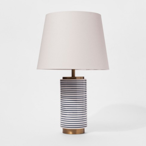 Ceramic Stripe Lamp - Blue/White - Threshold™ - image 1 of 4