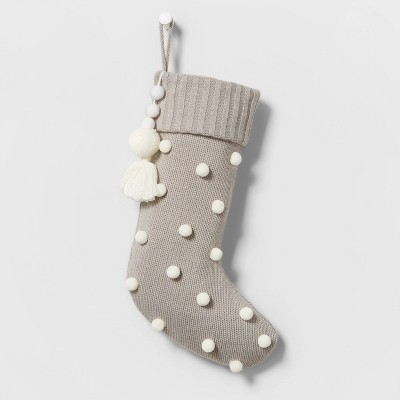 Baby Knit Christmas Stocking with Poms and Felted Ball Tassel Gray - Wondershop™