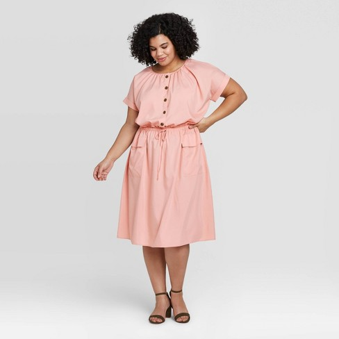 Women's Plus Size Short Sleeve Utility Dress - A New Day™ - image 1 of 3