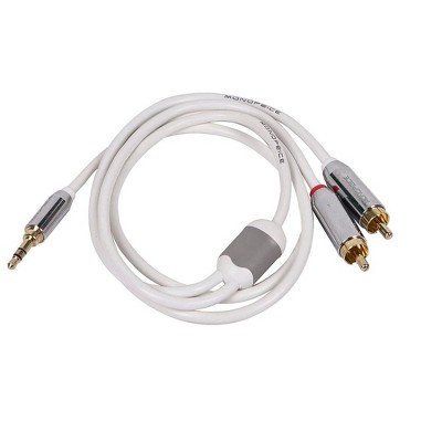 Monoprice 3ft Designed for Mobile 3.5mm Stereo Male to RCA Stereo Male (Gold Plated) - White
