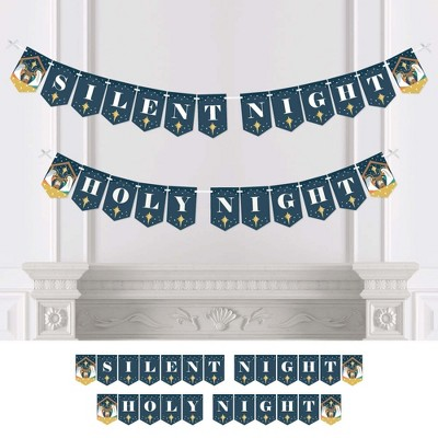 Big Dot of Happiness Holy Nativity - Manger Scene Religious Christmas Bunting Banner - Party Decorations - Silent Night Holy Night
