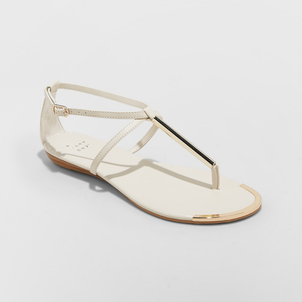 Women's Archer T Strap Thong Sandals - A New Day Bone (Ivory) 5.5
