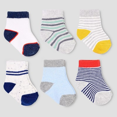 Baby Boys' 6pk Stripe Crew Socks - Just One You® made by carter's 0-3M