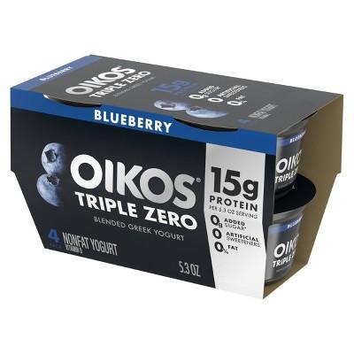 Oikos Triple Zero Blueberry Greek Style Yogurt - 4pk/5.3oz Cups