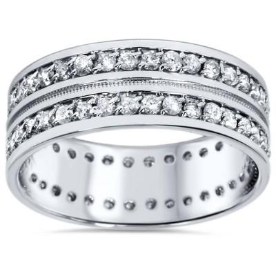 Pompeii3 1 1/2ct Mens Diamond Eternity Ring Milgrain Accent 10K White Gold
