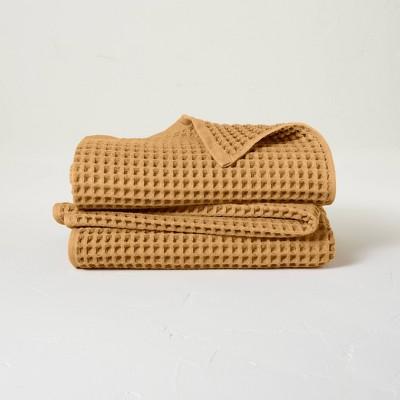 2pk Waffle Bath Towel Set Honey - Casaluna™