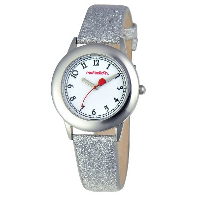 Girls' Red Balloon Stainless Steel Glitz Watch - Silver