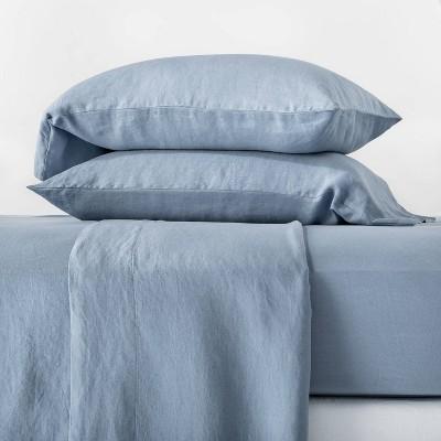 King 100% Washed Hemp Solid Sheet Set Deep Sky Blue - Casaluna™