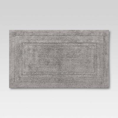 "20""x34"" Performance Cotton Reversible Bath Rug Gray - Threshold™"