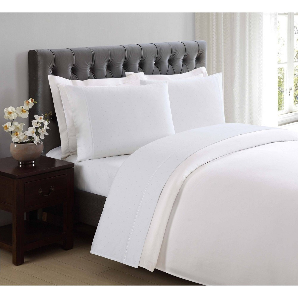 Image of California King 310 Thread Count Classic Dot Printed Cotton Sheet Set Bright White - Charisma