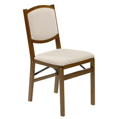 Set of 2 Contemporary Upholstered Back Folding Chair Fruitwood Brown - Stakmore