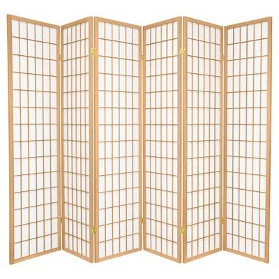 6 ft. Tall Window Pane Shoji Screen - Natural (6 Panels)