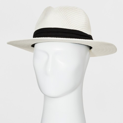 Men's Pleated Washed Fedora - Goodfellow & Co Ivory L/XL, Size: Large/XL, White