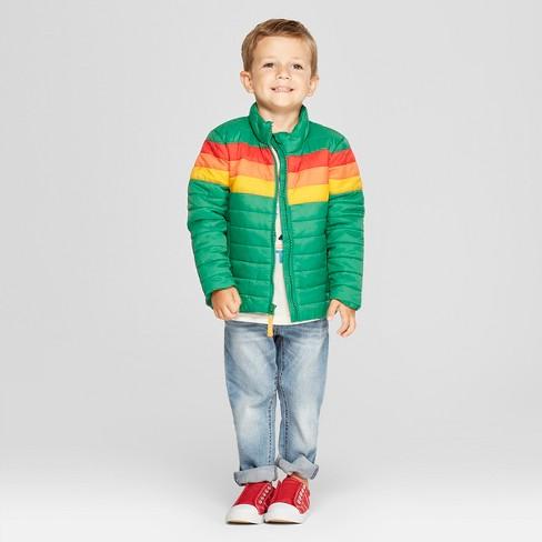 9d87d6ffbd9f Toddler Boys  Rainbow Midweight Puffer Jacket - Cat   Jack™ Green ...