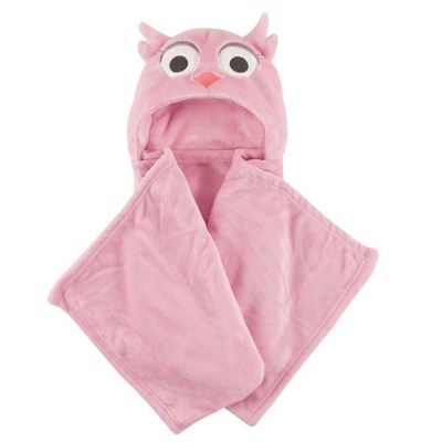 Hudson Baby Unisex Baby and Toddler Hooded Animal Face Plush Blanket - Pink Owl One Size