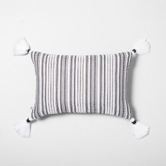 Yarn Dye Stripes Throw Pillow with Tassels Jet Gray/Black - Hearth & Hand™ with Magnolia