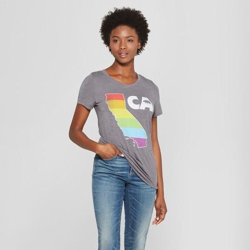 Women's Short Sleeve CA State Rainbow Graphic T-Shirt - Awake Charcoal - image 1 of 2