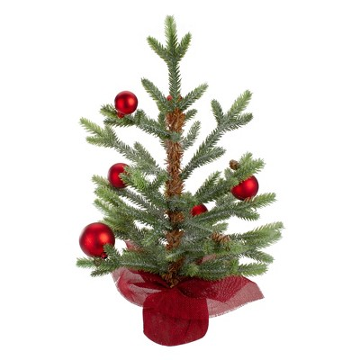 """Northlight 18"""" Potted Pine with Red Ornaments Medium Artificial Christmas Tree – Unlit"""