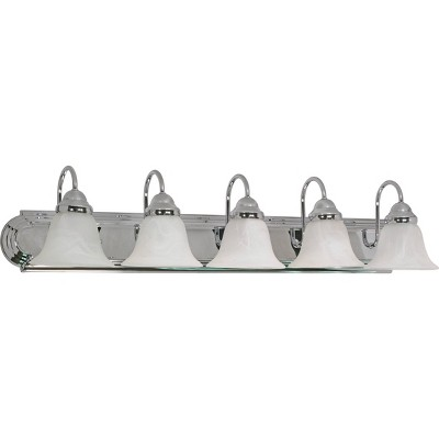 5 Light Bath Sconce with Alabaster Glass Bell Shade Polished Chrome - Aurora Lighting