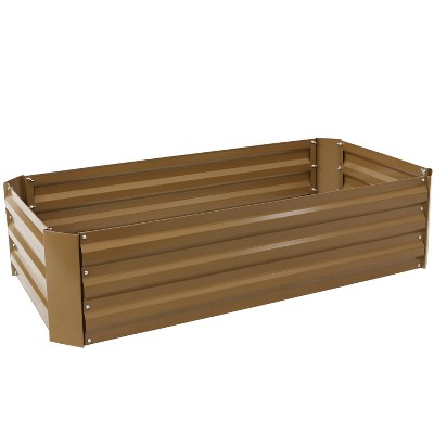 """Sunnydaze Raised Hot Dip Galvanized Steel Rectangle Garden Bed for Plants, Vegetables, and Flowers - 48"""" L x 11.75"""" H - Brown"""