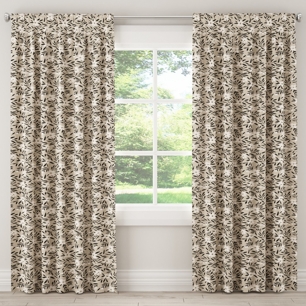 Unlined Curtain Fiona Floral Natural 96L - Cloth & Co., Gray