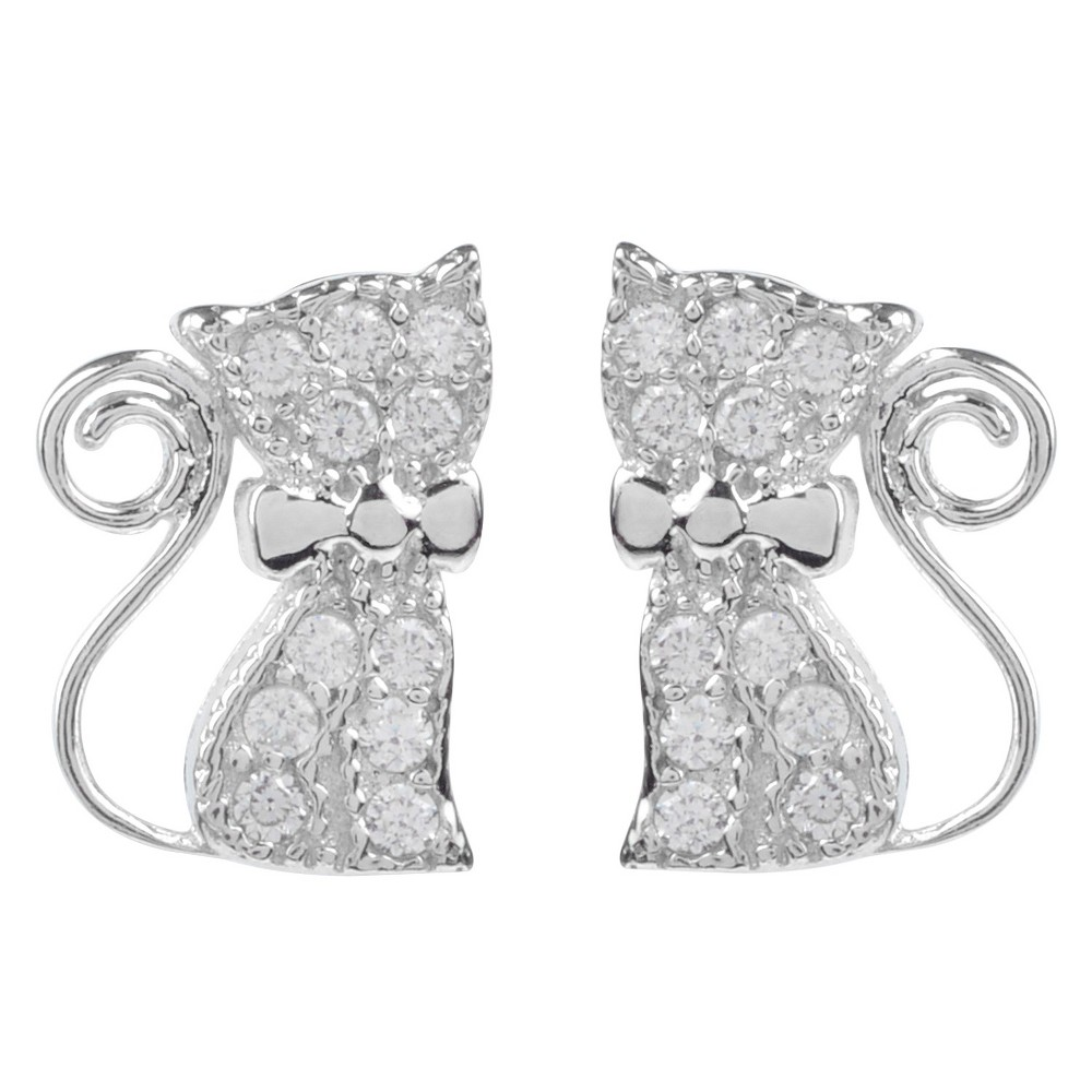 1/5 CT. T.W. Round-cut CZ Pave Set Cat Stud Earrings in Sterling Silver - Silver, Girl's Flaunt high fashion with these stud earrings from Journee Collection. These earrings are crafted of premium sterling silver and are fashioned into dainty cat emblems. Cubic zirconia stones and a high polish finish complete this great look. Gender: Female. Age Group: Kids.