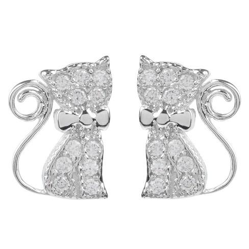 1/5 CT. T.W. Round-cut CZ Pave Set Cat Stud Earrings in Sterling Silver - Silver - image 1 of 2