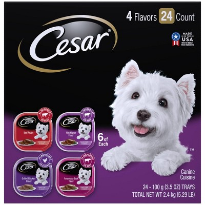 Cesar Classic Loaf in Sauce Wet Dog Food Beef, Filet Mignon, Grilled Chicken & Porterhouse Steak - 3.5oz/24ct Variety Pack