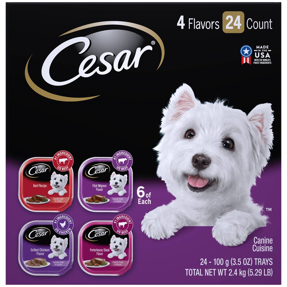 Cesar Classic Loaf in Sauce Wet Dog Food Beef Filet Mignon Grilled Chicken & Porterhouse Steak - 3.5oz/24ct Variety Pack Discounts