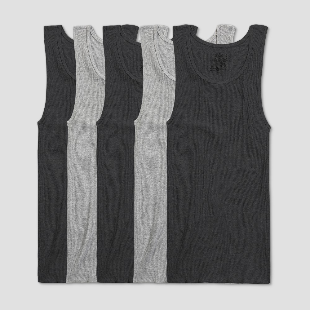 Image of Fruit of the Loom Men's A-Shirt 5pk - Black/Gray S, Size: Small, Gray Black