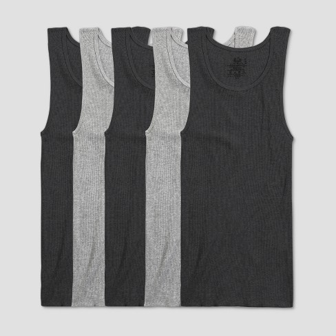 Fruit of the Loom Men's A-Shirt 5pk - Black/Gray - image 1 of 3