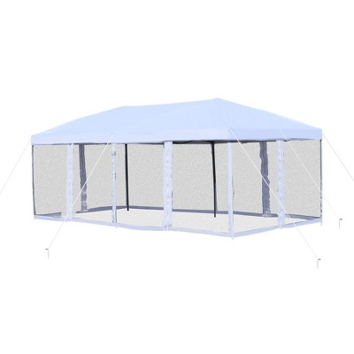 Outsunny 10' x 20' Heavy Duty Pop Up Canopy with 6 Sidewall Mesh Netting, Outdoor Party Event Tent with Oxford Fabric Roof for Backyard Garden Patio