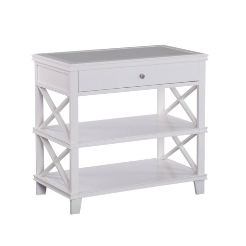 Wilren Glass Top Accent Table White - Aiden Lane - image 1 of 3