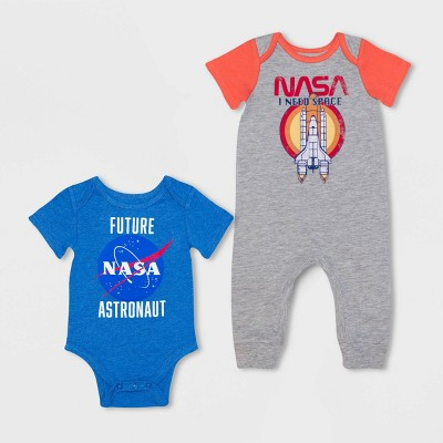 Baby Boys' 2pk NASA Romper and Bodysuit - Gray 6-9M