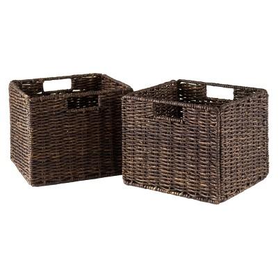 Granville Foldable 2pc Small Corn Husk Baskets - Chocolate - Winsome