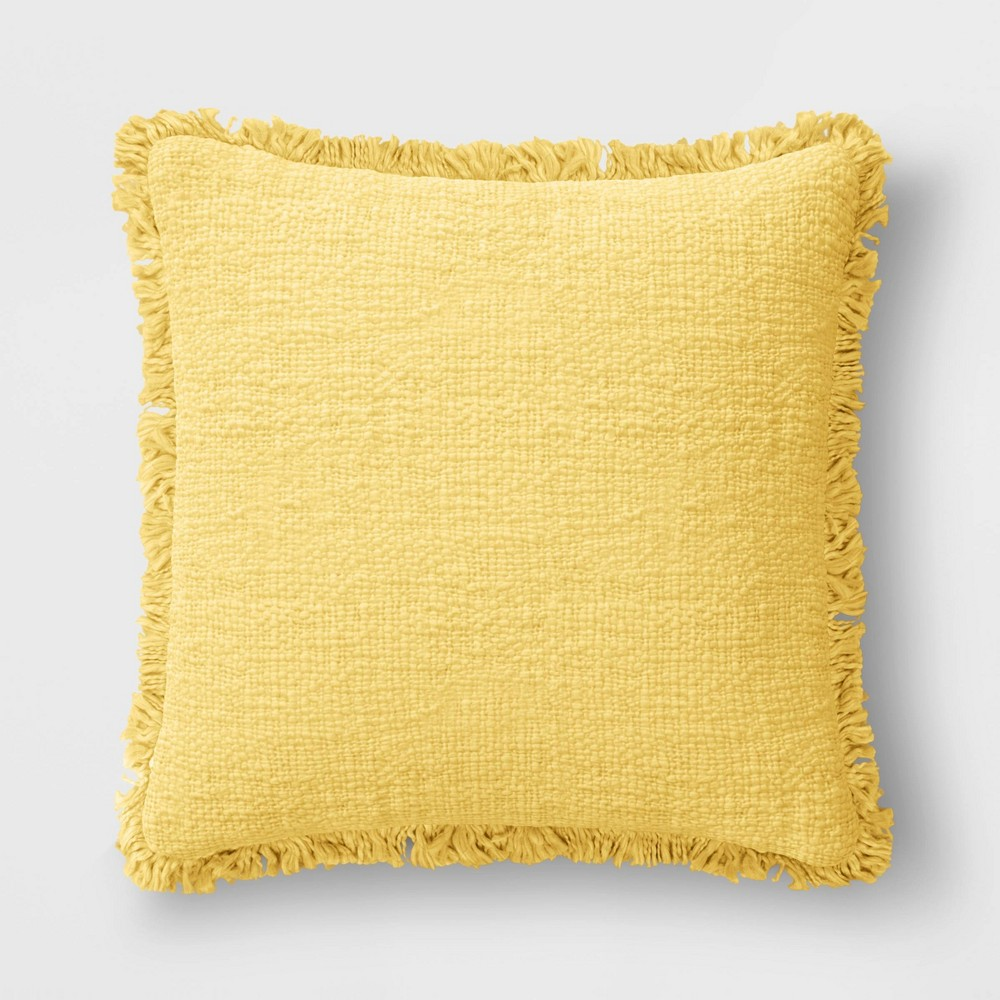 24 34 X24 34 Oversized Square Throw Pillow With Fringe Yellow Threshold 8482