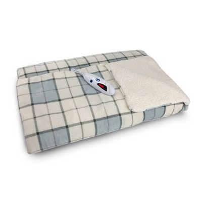 Velour and Sherpa Electric Throw Blanket Gray Plaid - Biddeford Blankets