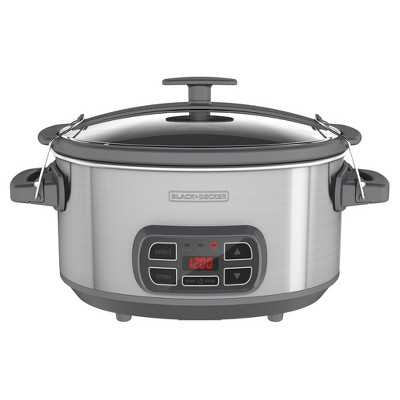 BLACK+DECKER 7qt Locking Lid Digital Slow Cooker - Silver SCD1007