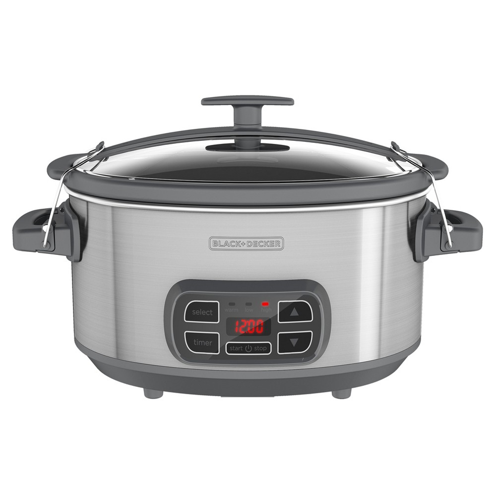 Image of BLACK+DECKER 7qt Locking Lid Digital Slow Cooker - Silver SCD1007, Silver Gray