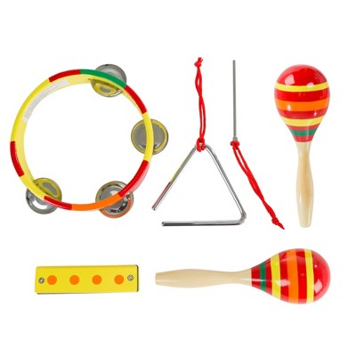 Toy Time Kids' Percussion and Wind Musical Instruments Toy Set of Tambourine, Maracas, Triangle, and Harmonica for Ages 3 and Up - Set of 4